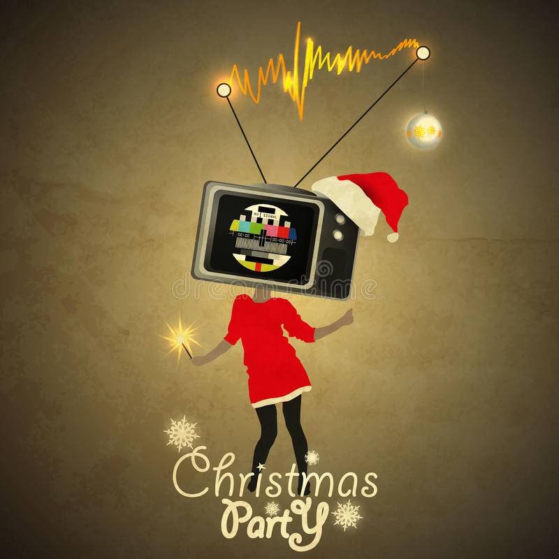 Christmas party Flyer. Tv-Head Gril on High - No signal vector illustration