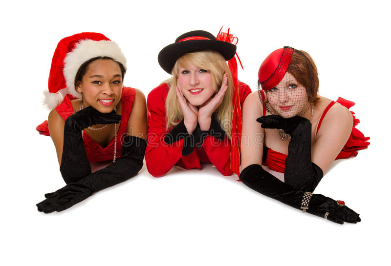 Christmas Party Girl Friends royalty free stock image