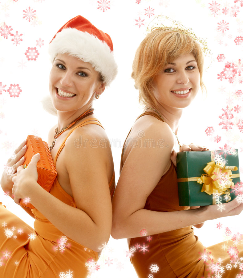 Christmas party girls royalty free stock image