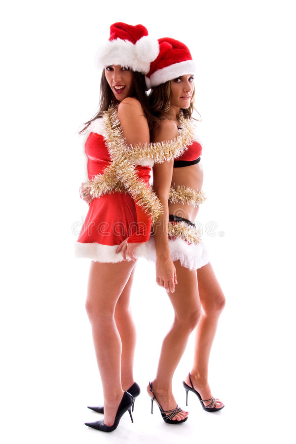 Download Christmas party girls. stock photo. Image of tinsel, tied - 3707480