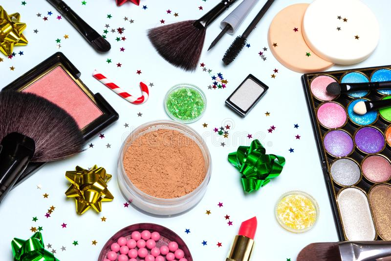 Christmas party makeup, bright sparkling New Year make up royalty free stock photo