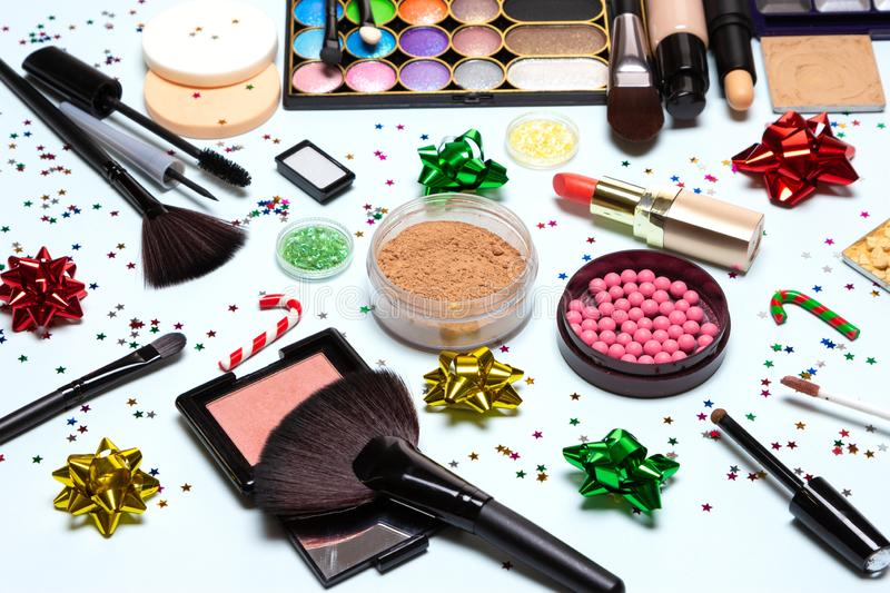 Christmas party glistening makeup, sparkling New Year make up stock photo