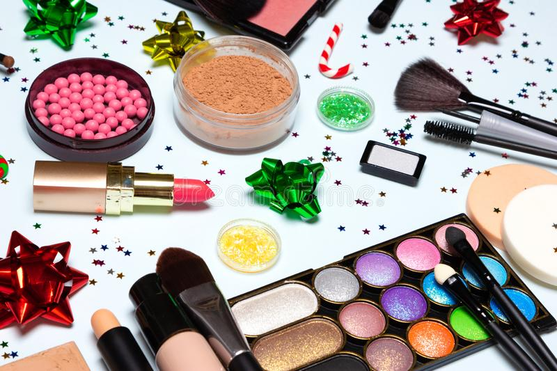 Christmas party glistening makeup, sparkling New Year make up royalty free stock images