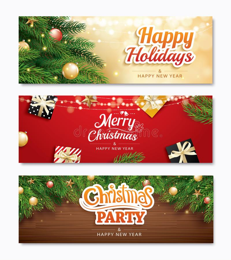 Christmas party and greeting card with holiday decoration background. Xmas and happy new year. Vector illustration for cover, ban vector illustration