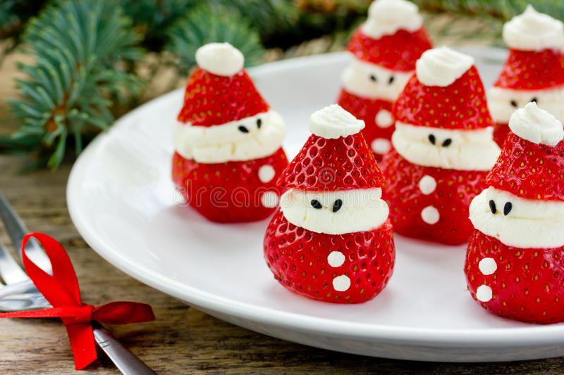 Christmas Party Ideas Kids Part - 47: Download Christmas Party Ideas For Kids - Strawberry Santa Recipe Stock  Image - Image Of Fruit