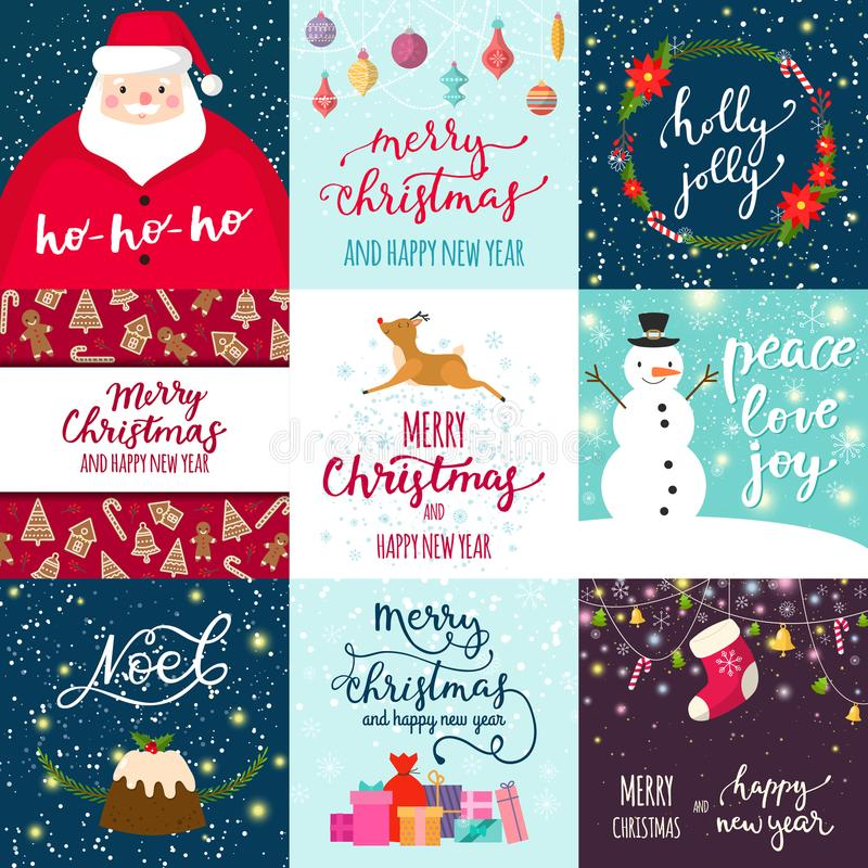 Christmas party invintation vector card background design template for noel Xmas holiday celebration clipart New Year. Colors printable poster. Bow, firework royalty free illustration