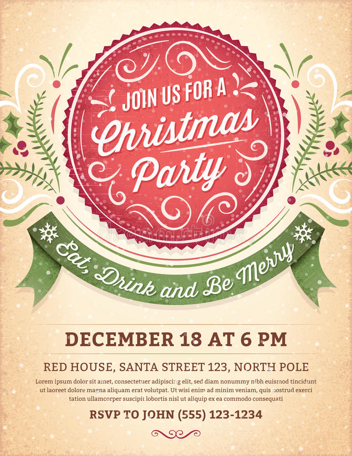 Christmas Party Invitation with a Big Red Label stock illustration