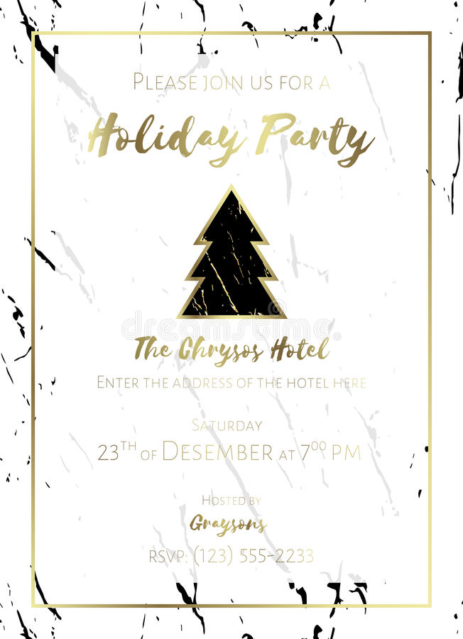 Christmas Party Invitation. Black, Gold And White. Stock Vector ...
