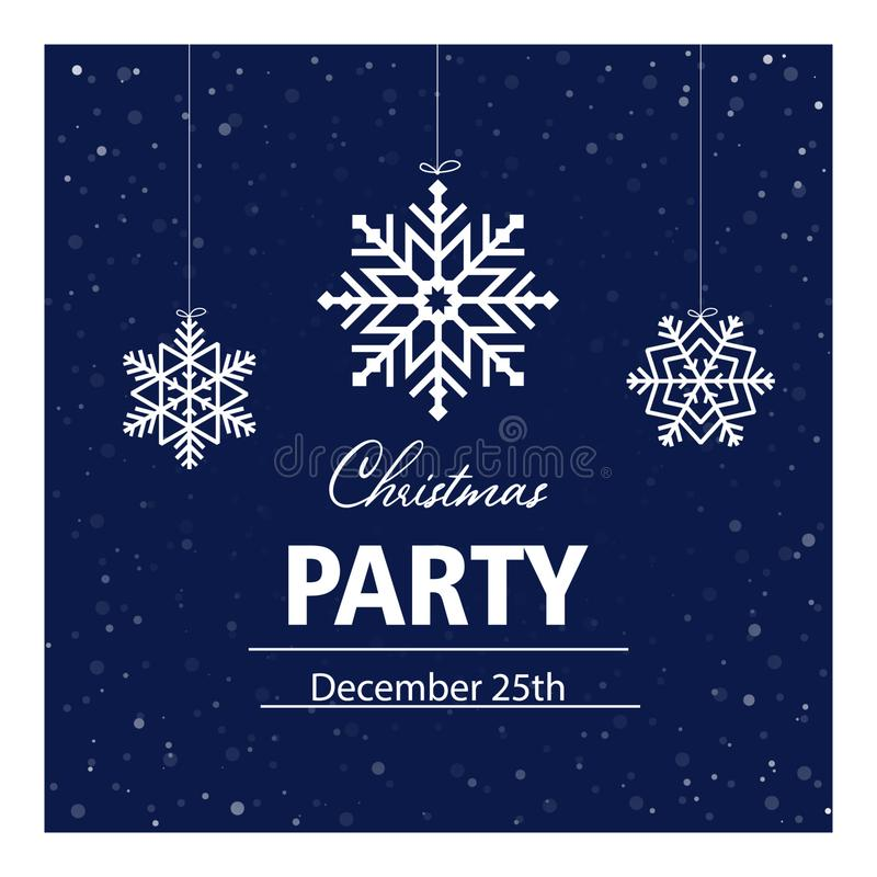 Christmas party invitation card, banner, poster, postcard, flyer. Vector illustration with white snowflakes and text on dark blue. Background stock illustration