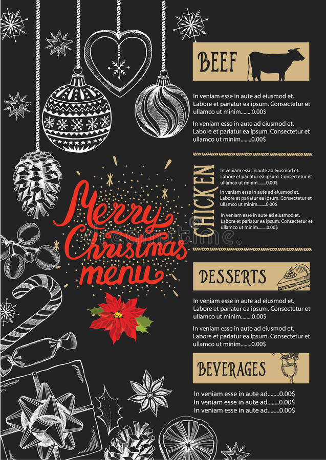 Christmas party invitation food menu restaurant stock