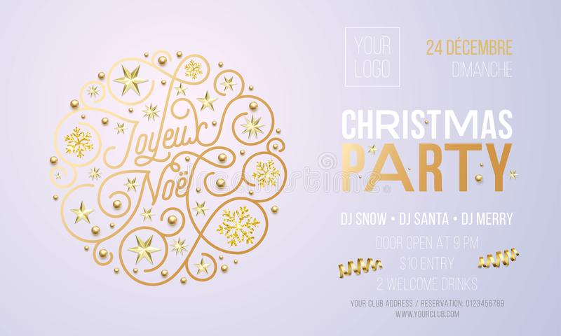 Christmas party invitation for french joyeux noel holiday christmas party invitation for french joyeux noel holiday celebration design template vector new year or xmas corporate party invitation flyer of golden stopboris Gallery