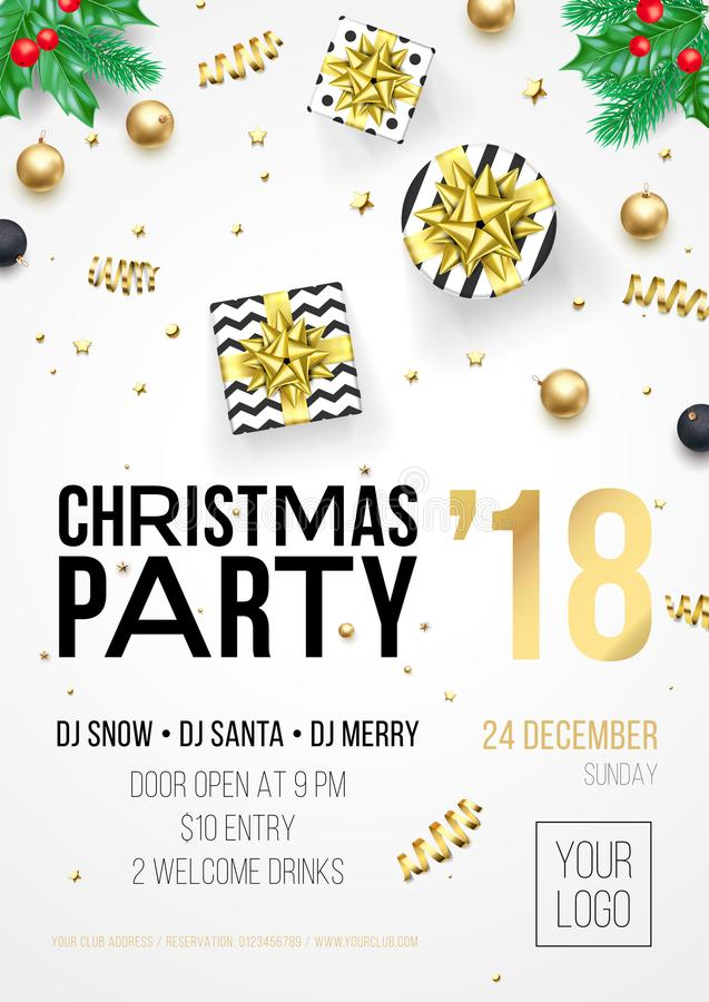Christmas party invitation poster or December winter holiday celebration party welcome banner template. Vector golden Christmas tr. Ee and New Year gold star and royalty free illustration