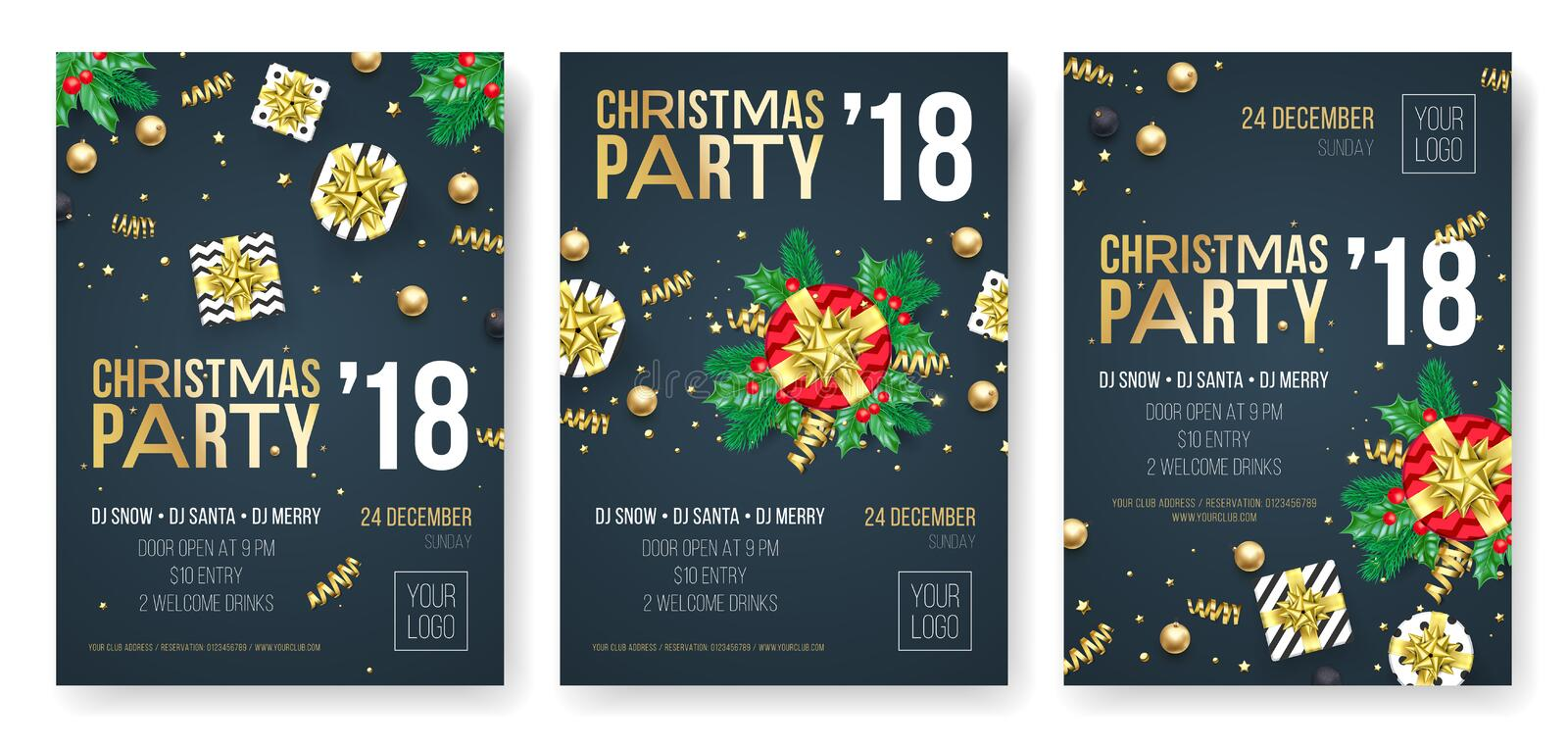 Christmas party invitation poster design template for winter holiday December 2018 celebration night. Vector present gift in golde royalty free illustration