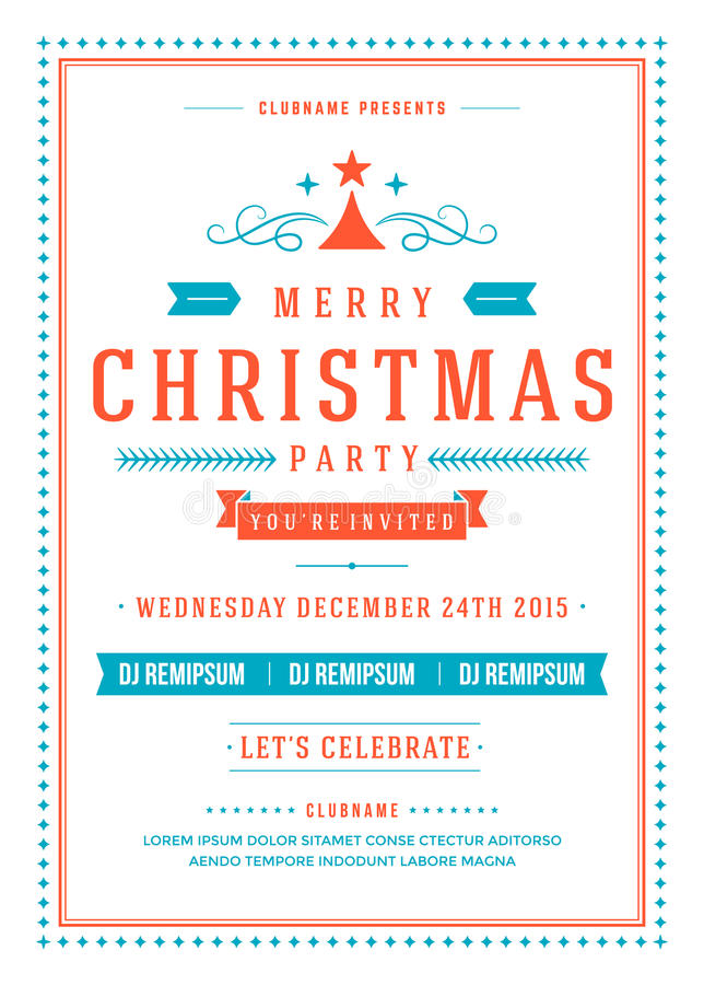 Christmas Party Invitation Poster Design Vector Stock Vector ...