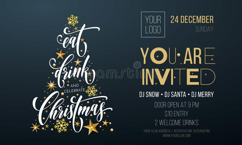 Merry Christmas party poster greeting vector golden decoration snowflake New Year background vector illustration