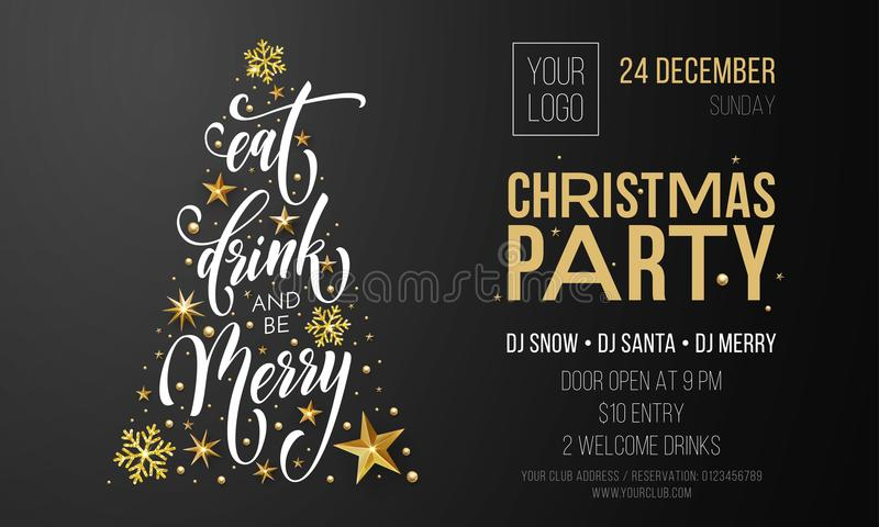 Merry christmas party poster banner vector golden decoration
