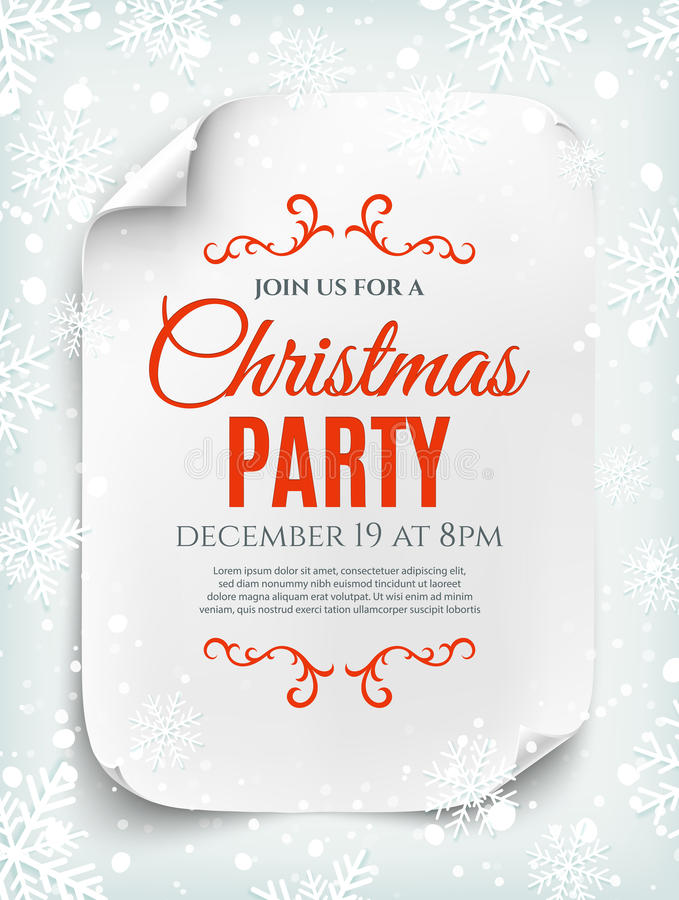 Christmas party invitation poster on winter background. Christmas party invitation poster, flyer or brochure template on winter background. Curved, paper banner vector illustration
