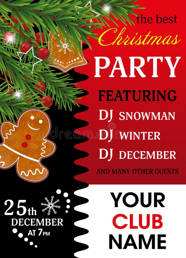 Christmas party invitation. Red background with Gingerbread cookies, Christmas tree branches and Holly berries for Xmas and New Ye. Ar design. Vector vector illustration