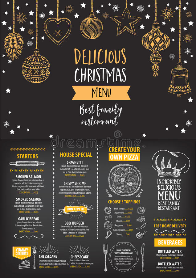 Christmas party invitation restaurant food flyer stock