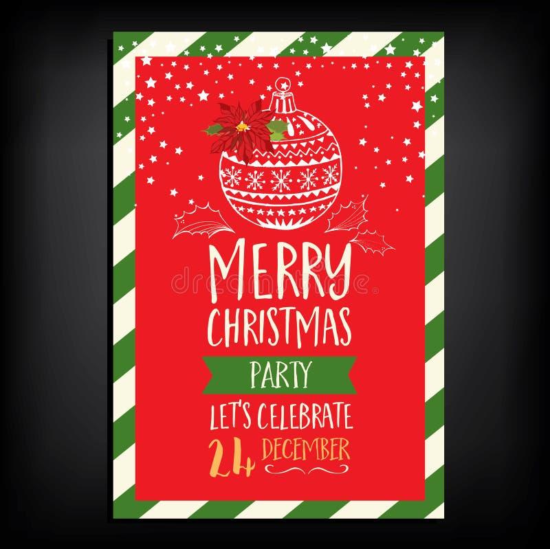 Christmas party invitation restaurant. Food flyer. royalty free illustration