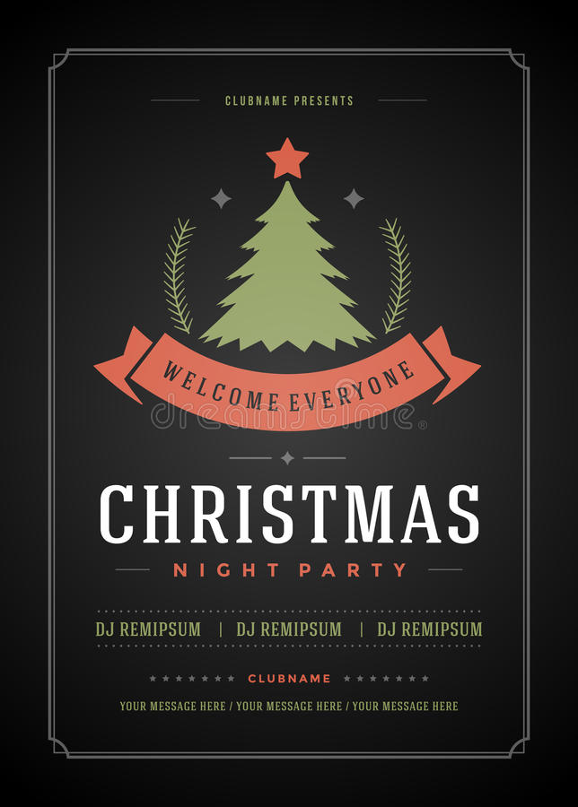 Christmas Party Invitation Retro Typography And Stock Vector ...