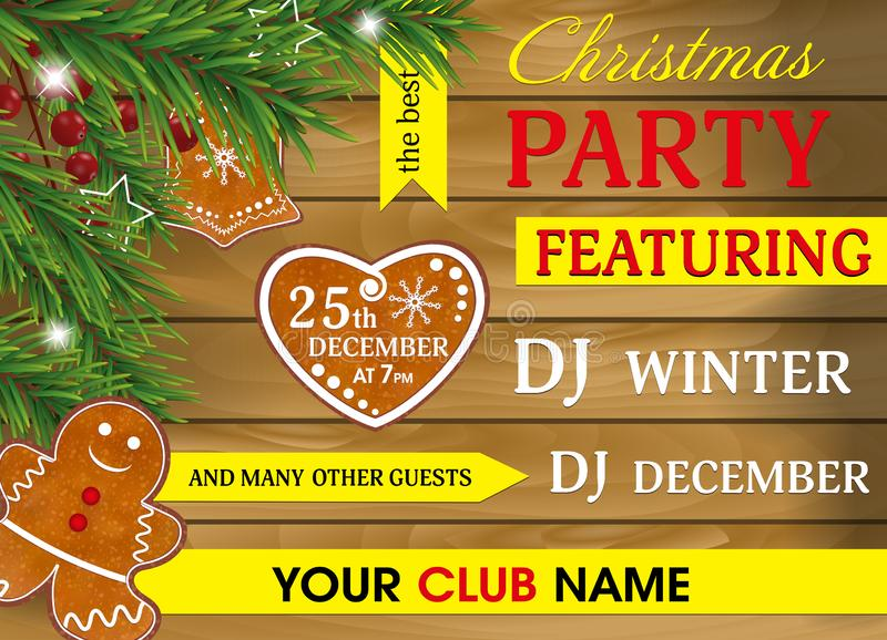 Christmas party invitation to wooden background with Gingerbread cookies, Christmas tree branches and Holly berries for Xmas and N. Ew Year design. Vector stock illustration