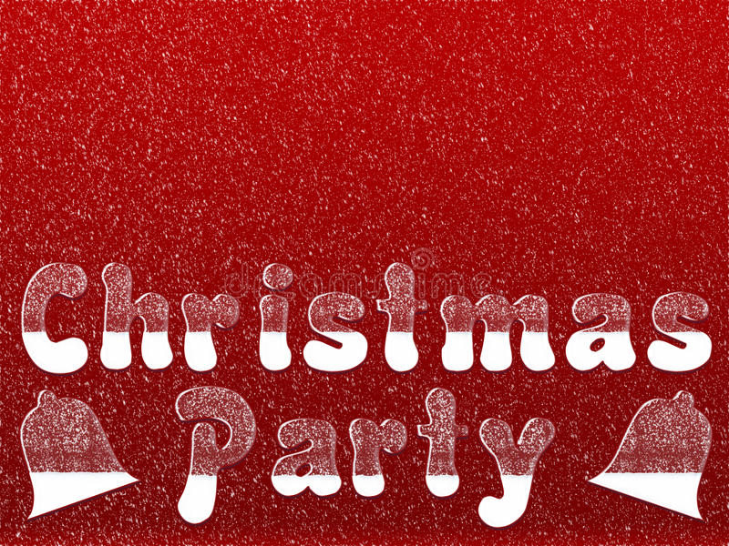 Christmas party invitation. Christmas party words written in ice letters with snow fall on red background for invitation stock illustration