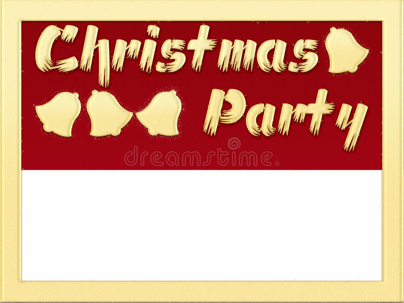 Christmas Party invitation. Written with glitter words and frame stock illustration