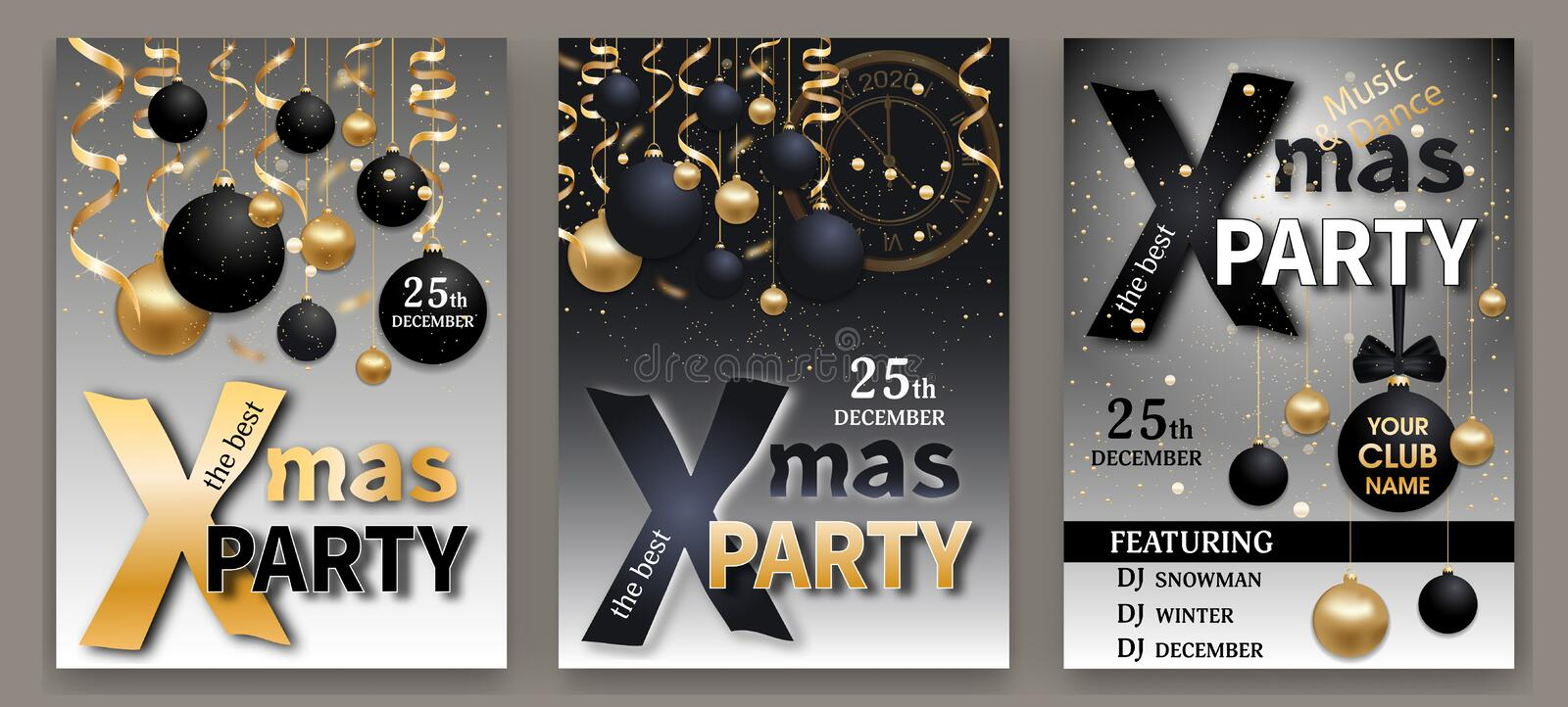 Christmas Party invitations templates. Set Xmas and New Year elegant backgrounds black and grey color decorated black and gold vector illustration