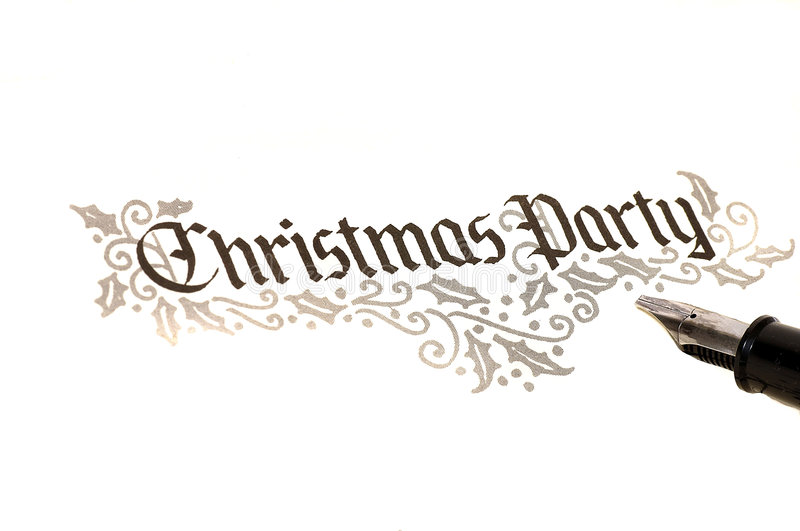 Christmas Party Invite. Calligraphy of christmas party invitation