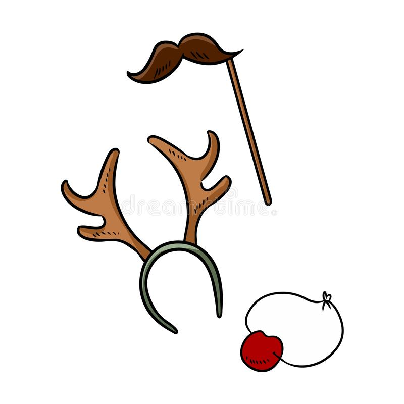 Christmas party items moustache reindeer horns and rudolph nose doodle elements stock illustration