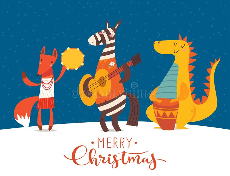 Christmas party jazz vector poster with funny cartoon musicians. Christmas music jazz concert party poster. Vector music poster with cartoon animals musicians royalty free illustration