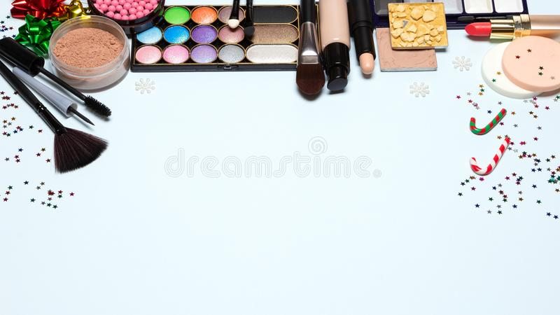 Christmas party makeup, bright New Year make-up with copy space royalty free stock photo
