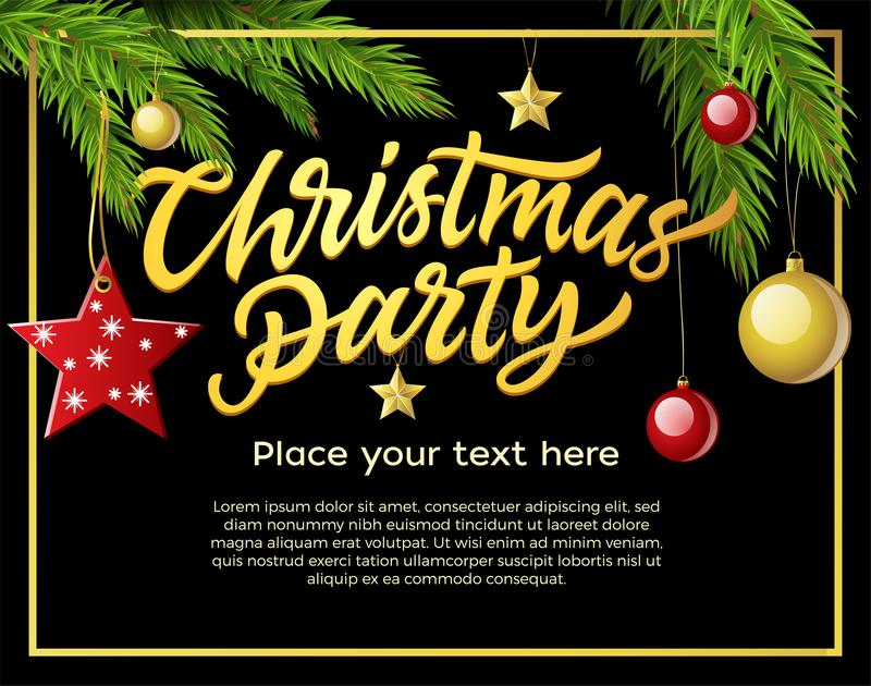 Christmas party - modern vector illustration with place for text stock illustration