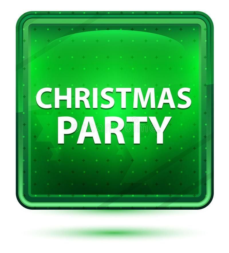 Christmas Party Neon Light Green Square Button vector illustration