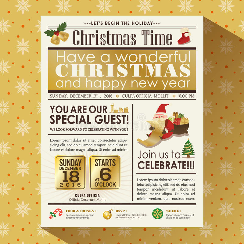 Christmas Party Newspaper Poster Stock Vector Illustration Of Gold