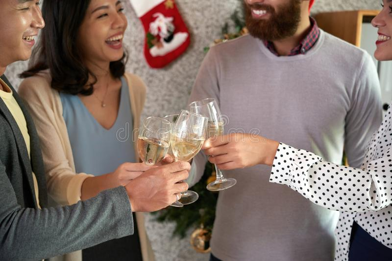 Christmas party in office stock photo