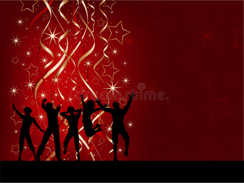 Christmas party people. Silhouettes of people dancing on a Christmas background