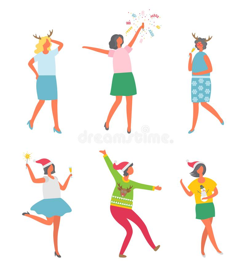 Christmas Party, People Celebrating New Years Eve. Reindeer and snowman prints vector. Woman company disco entertainment. Female with bengal light royalty free illustration