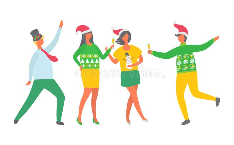 Christmas Party People, New Years Eve Celebration. New Years Eve celebration vector, Christmas party people. Man and woman dancing and drinking alcohol vector illustration
