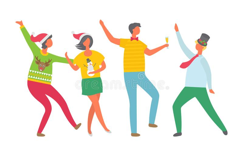 Christmas Party People, New Years Eve Celebration. Vector. Man and woman dancing and drinking alcohol, champagne poured in glass. Tipsy happy crowd vector illustration