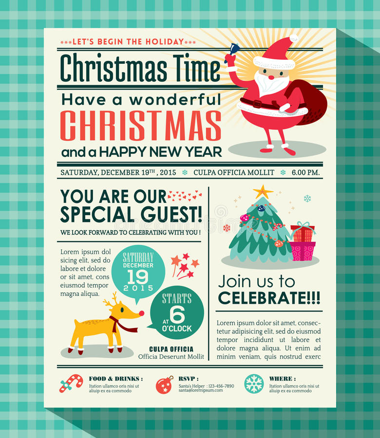 Christmas party poster background in newspaper style royalty free illustration