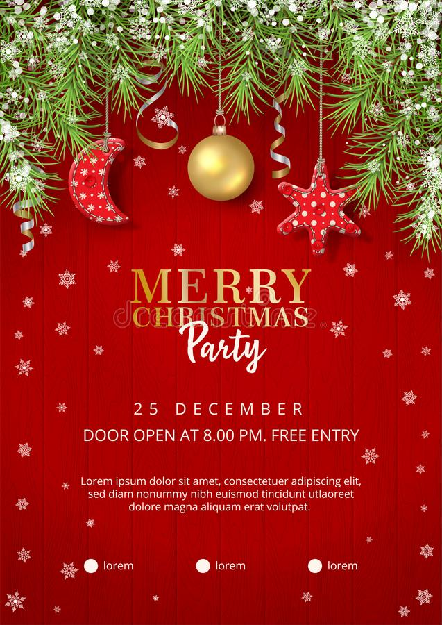 Christmas Party Poster. With typography lettering and holiday decoration on wooden background vector illustration
