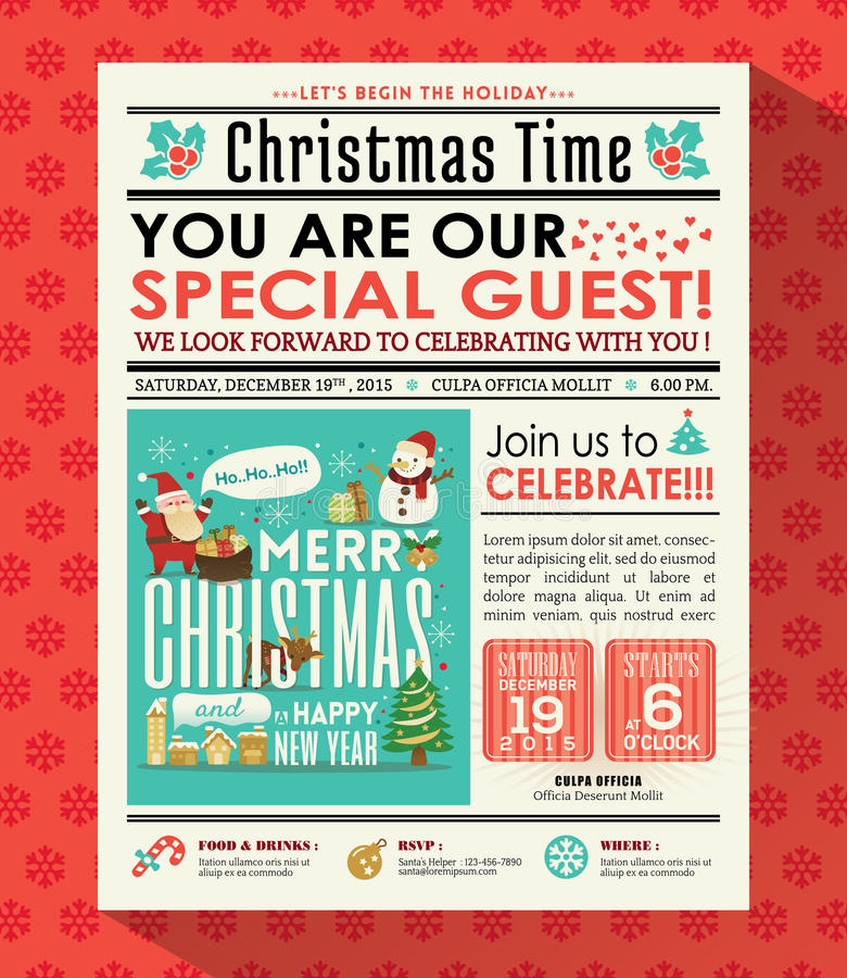 Christmas party poster invite background in newspaper style royalty free illustration