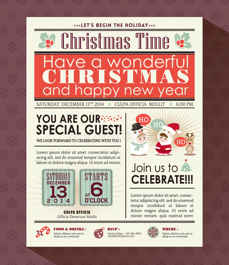 Christmas Party Poster Invite Background In Newspaper Style Stock