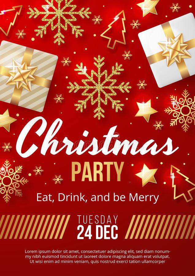 Christmas Party poster template with christmas elements on red background. Vector illustration royalty free illustration