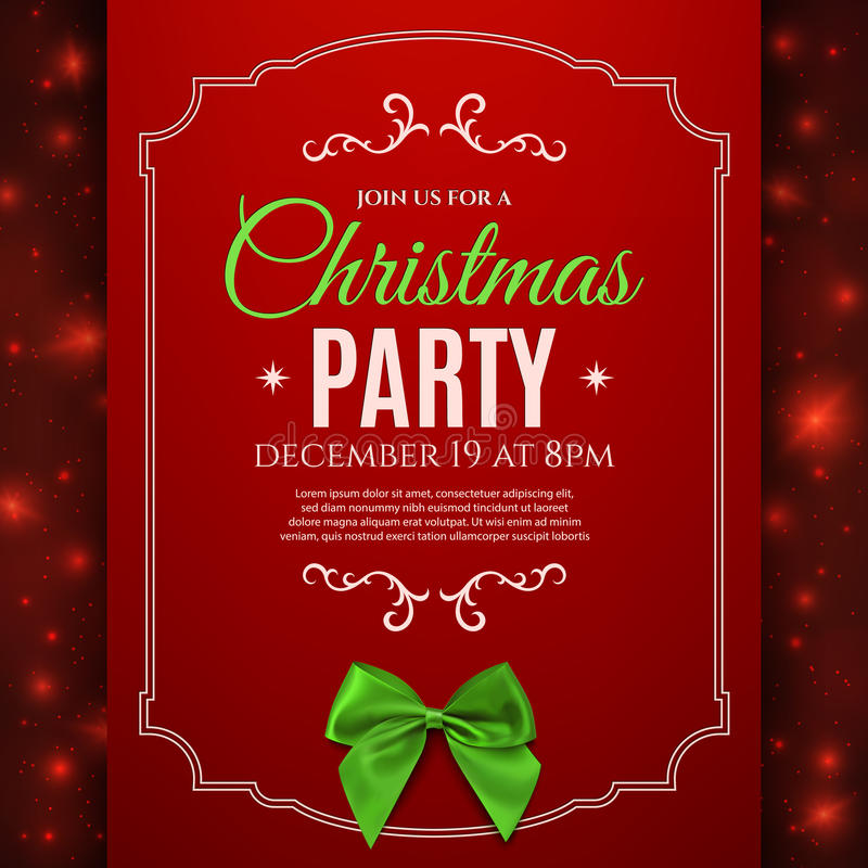 Christmas party poster template with green bow. vector illustration