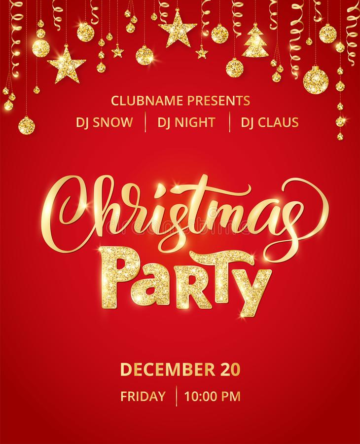 Christmas party poster template. Hand written lettering. Golden glitter border, garland with hanging balls and ribbons. stock illustration