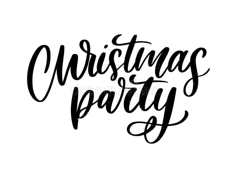 Christmas party poster template. Hand written lettering, sparkling typography slogan vector illustration