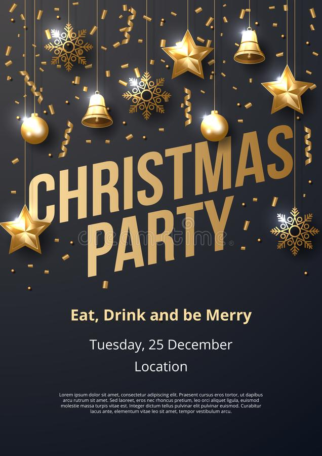 Christmas party poster template with shining gold ornaments stock illustration